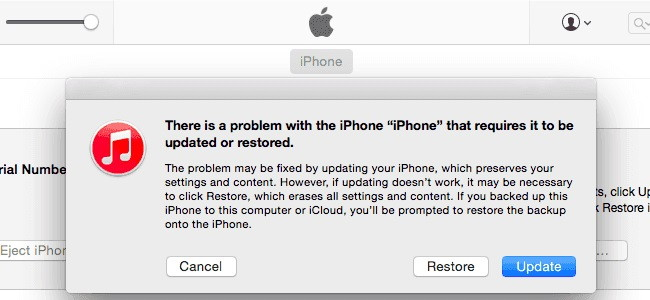 Fix iPad/iPhone Won't Turn on By Restoring iOS With iTunes
