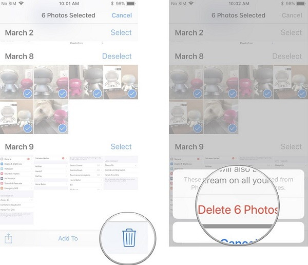 delete photos on iphone