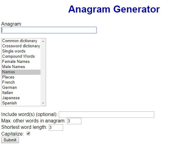 Futureboy - Best Anagram Maker Sites