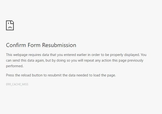 Confirm Form Resubmission Error