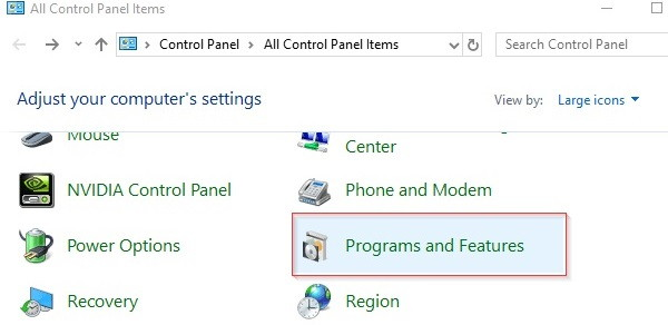 Select Programs-and Features Option