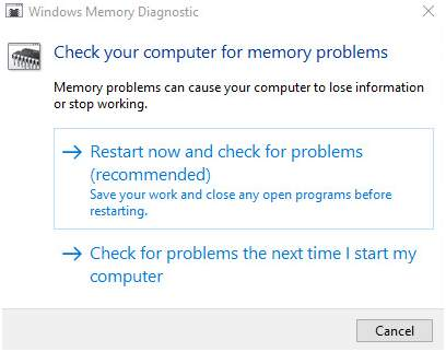 restart now and check for problems recommended