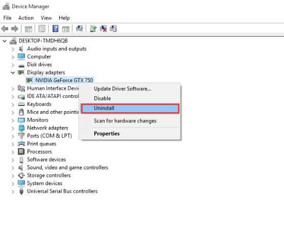 uninstall nvidia graphics driver