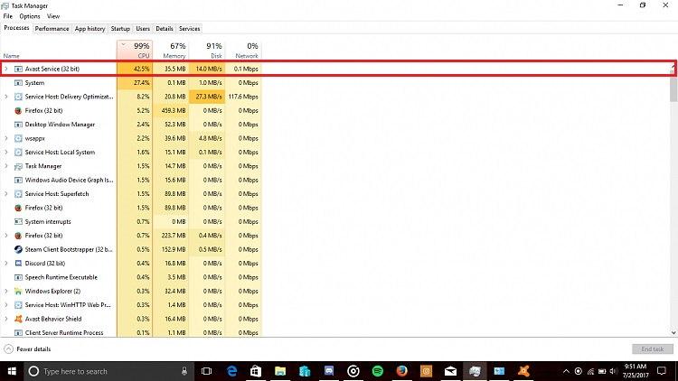 Avast Service High CPU Usages on Windows 10