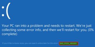 Bad Pool Header Error in Windows 10