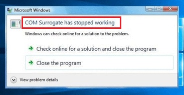Com Surrogate has Stopped Working Error