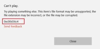 Error Code 0xc00d36c4 in Windows