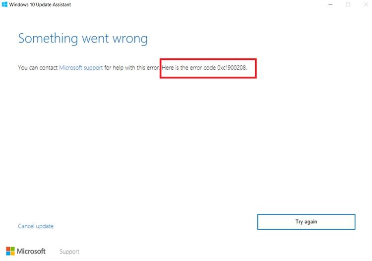 Error Code 0xc1900208 Windows Creators Update Fail