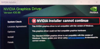 NVIDIA Installer Cannot Continue Error in Windows 10, 8 and 7