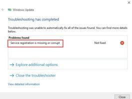 Service Registration is Missing or Corrupt in Windows 10