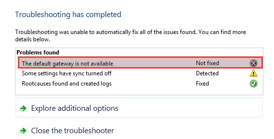 The Default Gateway is Not Available Error