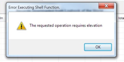 The Requested Operation Requires Elevation Error