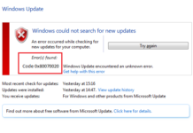 Update Error 0x80070020 in Windows 10