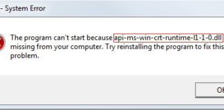 api-ms-win-crt-runtime-l1-1-0.dll is Missing
