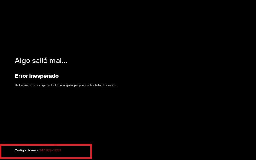 Netflix Error M7703-1003