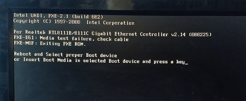 Reboot and Select Proper Boot Device Error
