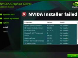 NVIDIA Installer Failed in Windows 10, 8 and 7