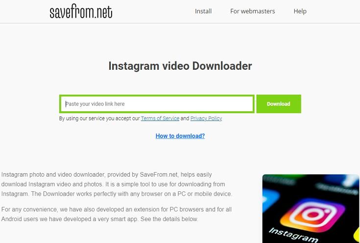 Savefrom Instagram video Downloader